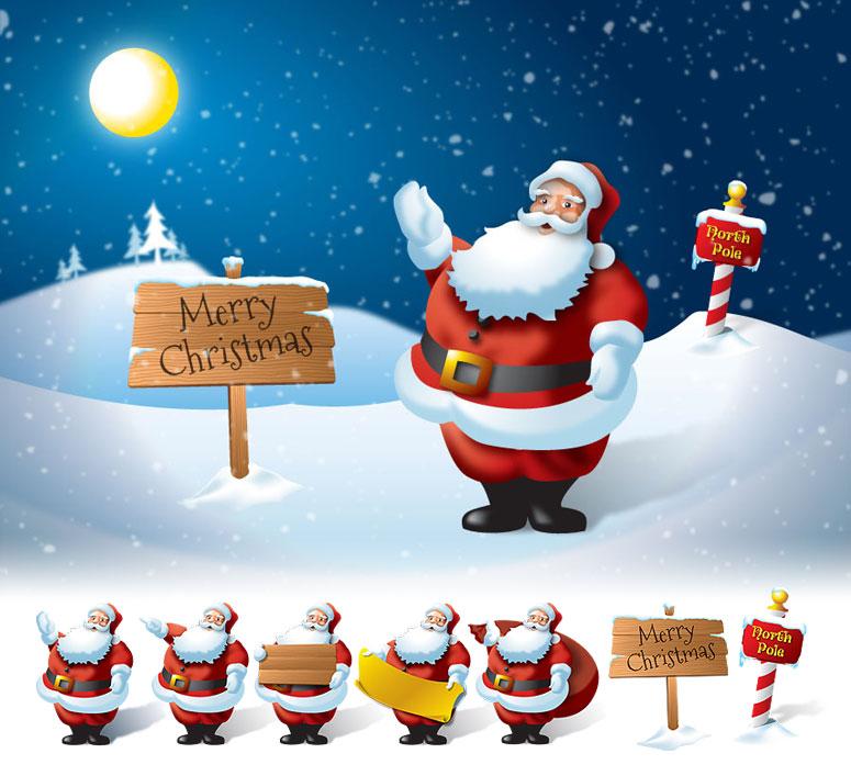 santa claus christmas vector set - Santa Claus Christmas Pictures