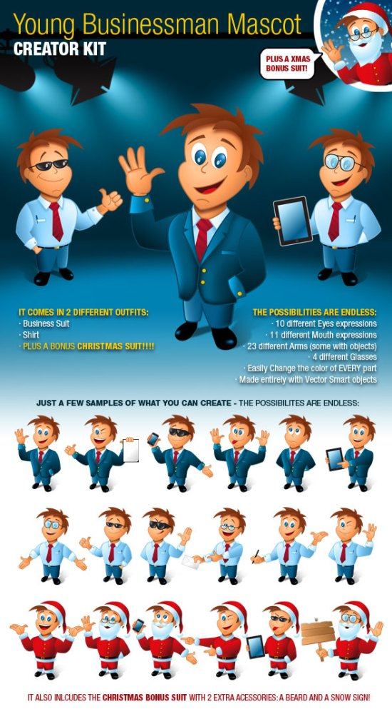 Young Business Man Mascot Creator Kit