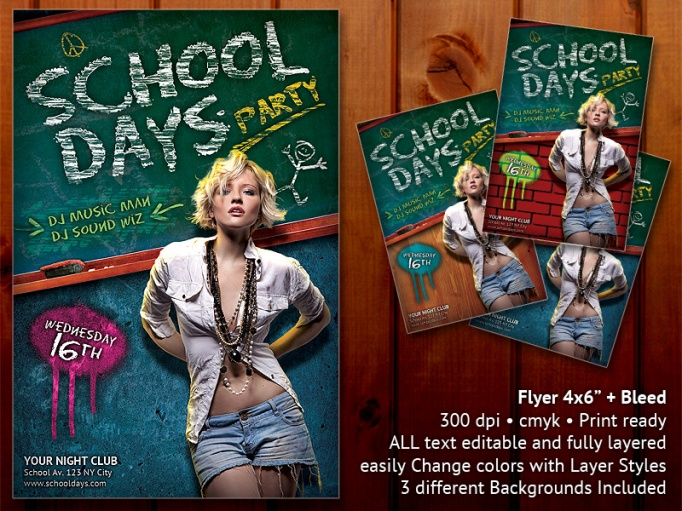 School Days Party Flyer