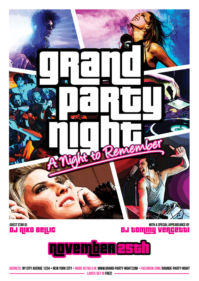 grand party night flyer gta style