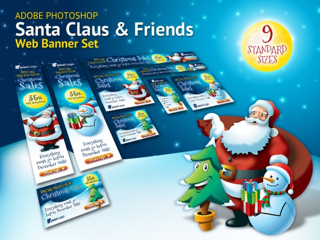 Santa Claus and Friends Christmas Web Banner Set