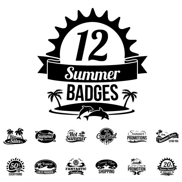 One Color Summer Badges